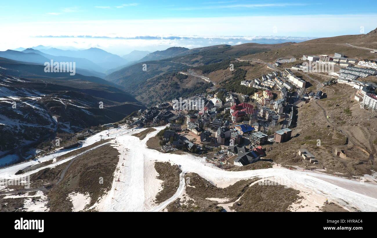 Sierra Nevada Ski Resort preparing for sunset - Stock Image