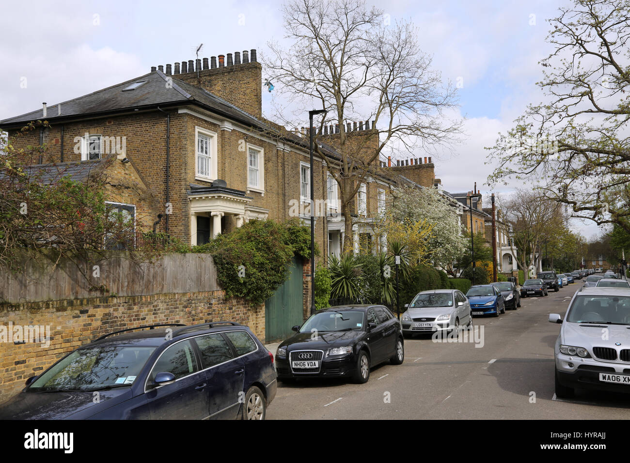 Guildford Street. A residential road in Stockwell, south London, UK. A typical street of Victorian houses. - Stock Image