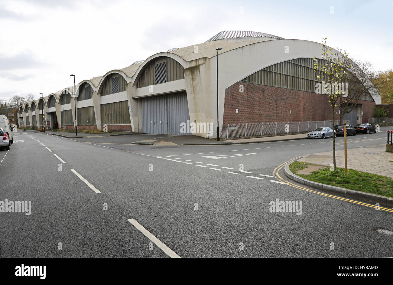 Stockwell Bus Garage, South London, UK. The famous concrete roof spans 59m and was the largest in Europe when built - Stock Image