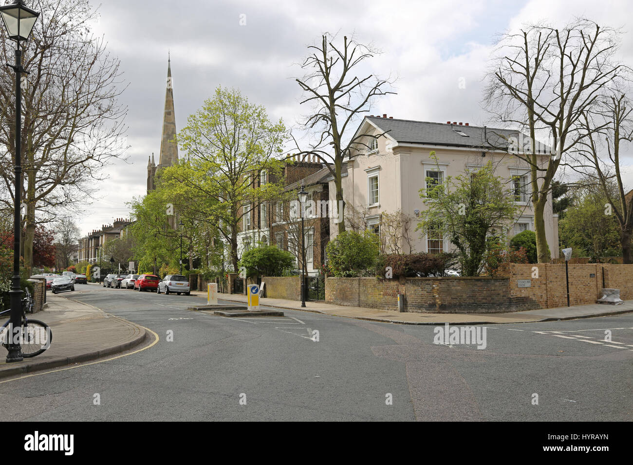 Houses and church on Stockwell Park Road, a famously elegant street in the increasingly popular inner city area - Stock Image