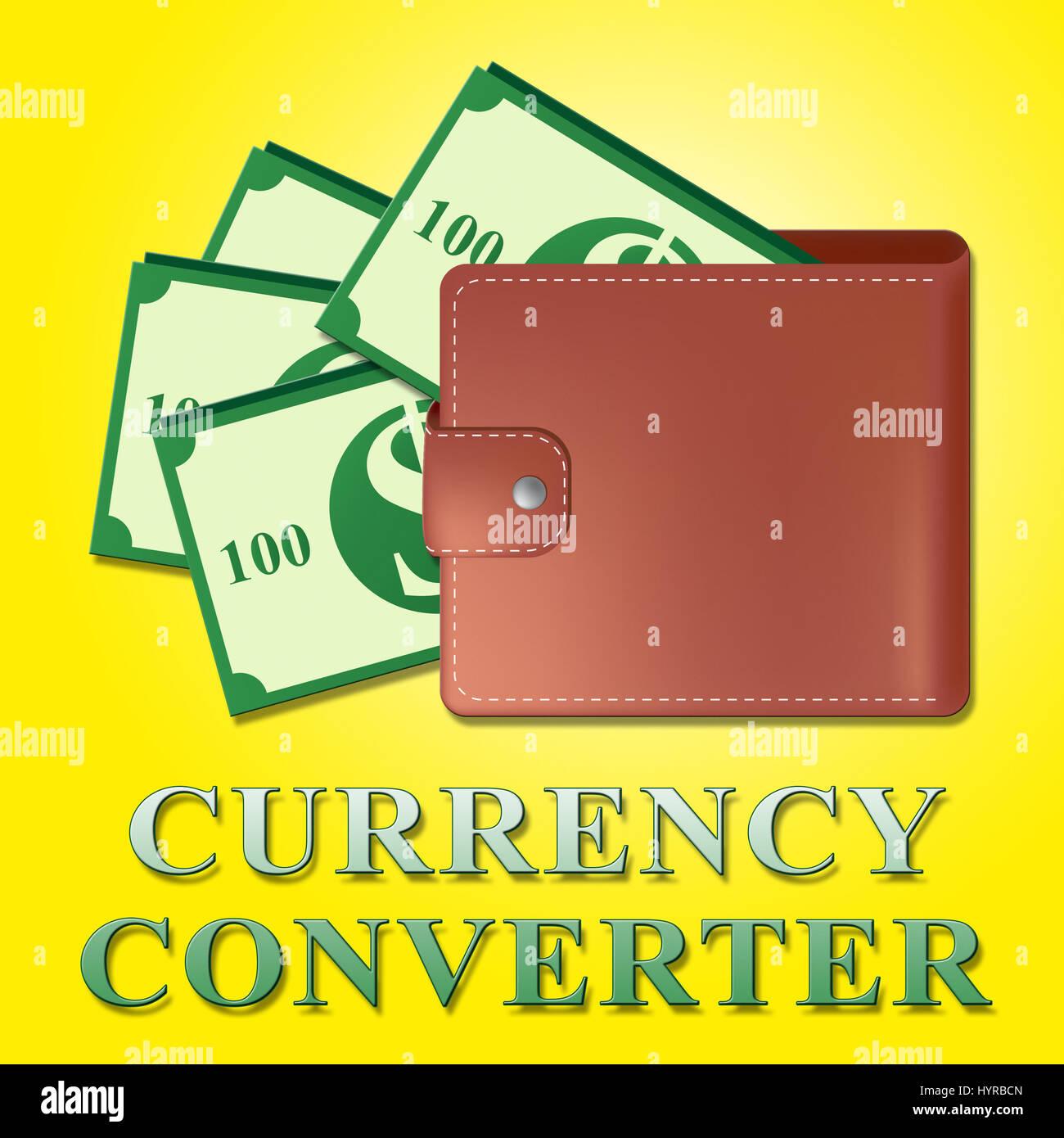 currency converter wallet means money exchange 3d illustration stock