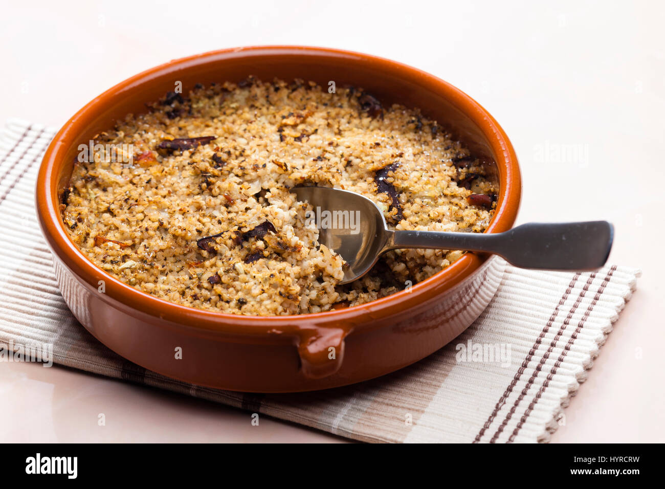 pot barley with mushrooms (called kuba - Czech meal) - Stock Image