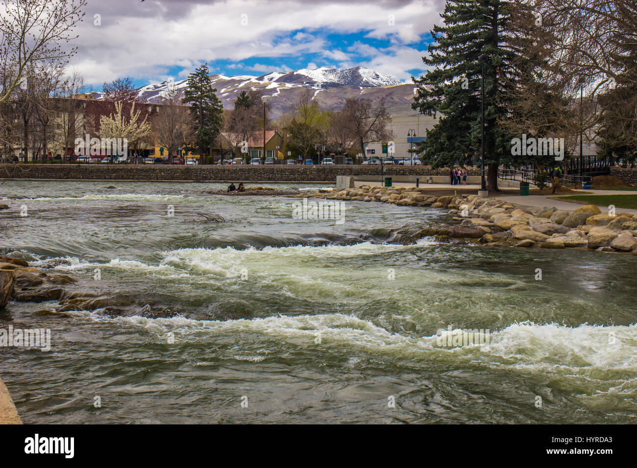 Rushing Truckee River From Melting Snow - Stock Image
