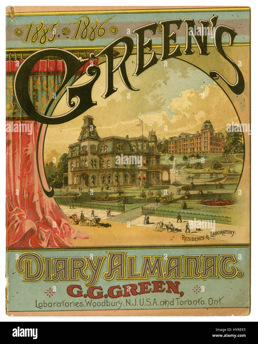 Cover of the 1885-1886 Green's Diary Almanac by G.G. Green, showing the Residence & Laboratory in Woodbury, - Stock Image