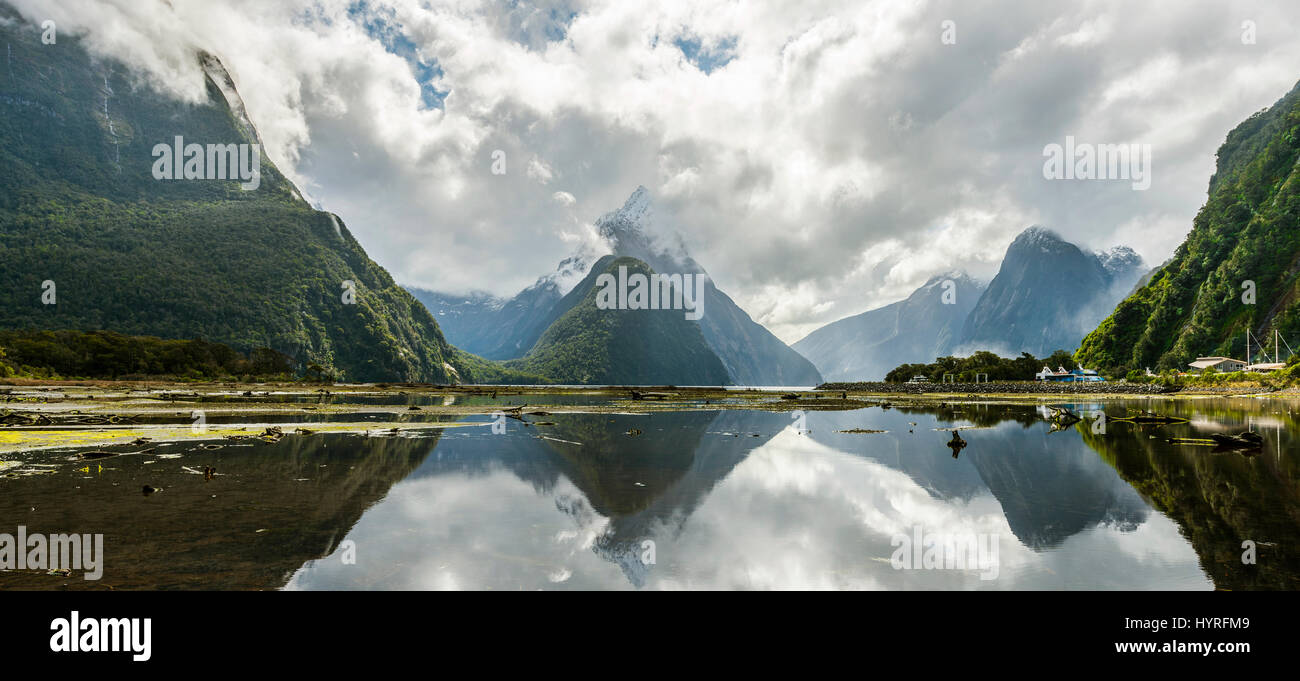 Miter Peak reflected in the water, Milford Sound, Fiordland National Park, Te Anau, Southland Region, Southland, - Stock Image