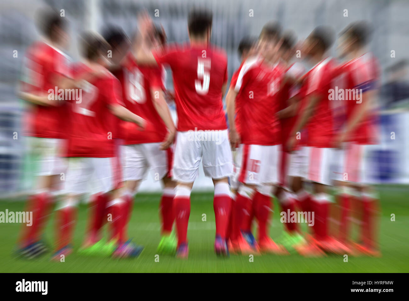 Football players in a group, Biel, Switzerland - Stock Image