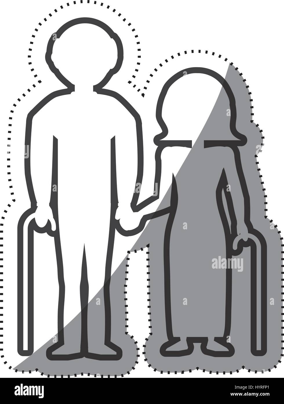 elderly couple grandparents with cane outline vector illustration