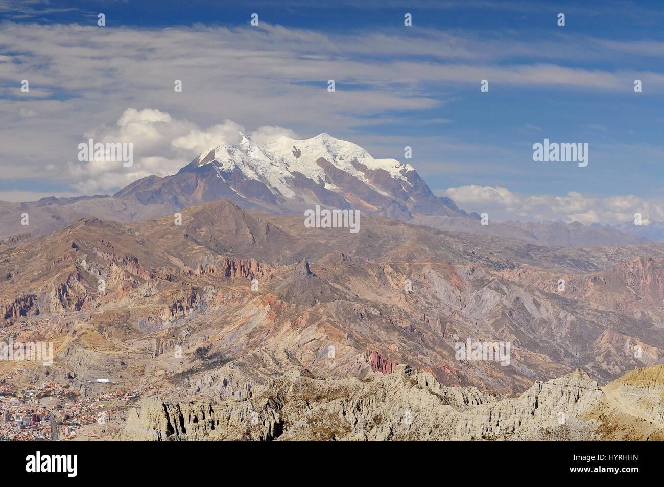 Bolivia, view of Cordillera Real from La Paz - Stock Image