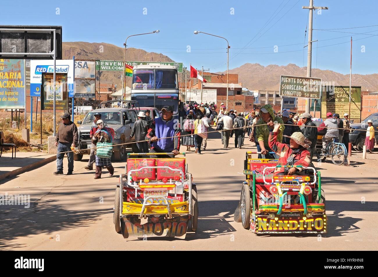 Peru, the border of Bolivia and Peru, Cycle Rickshaw Stock Photo