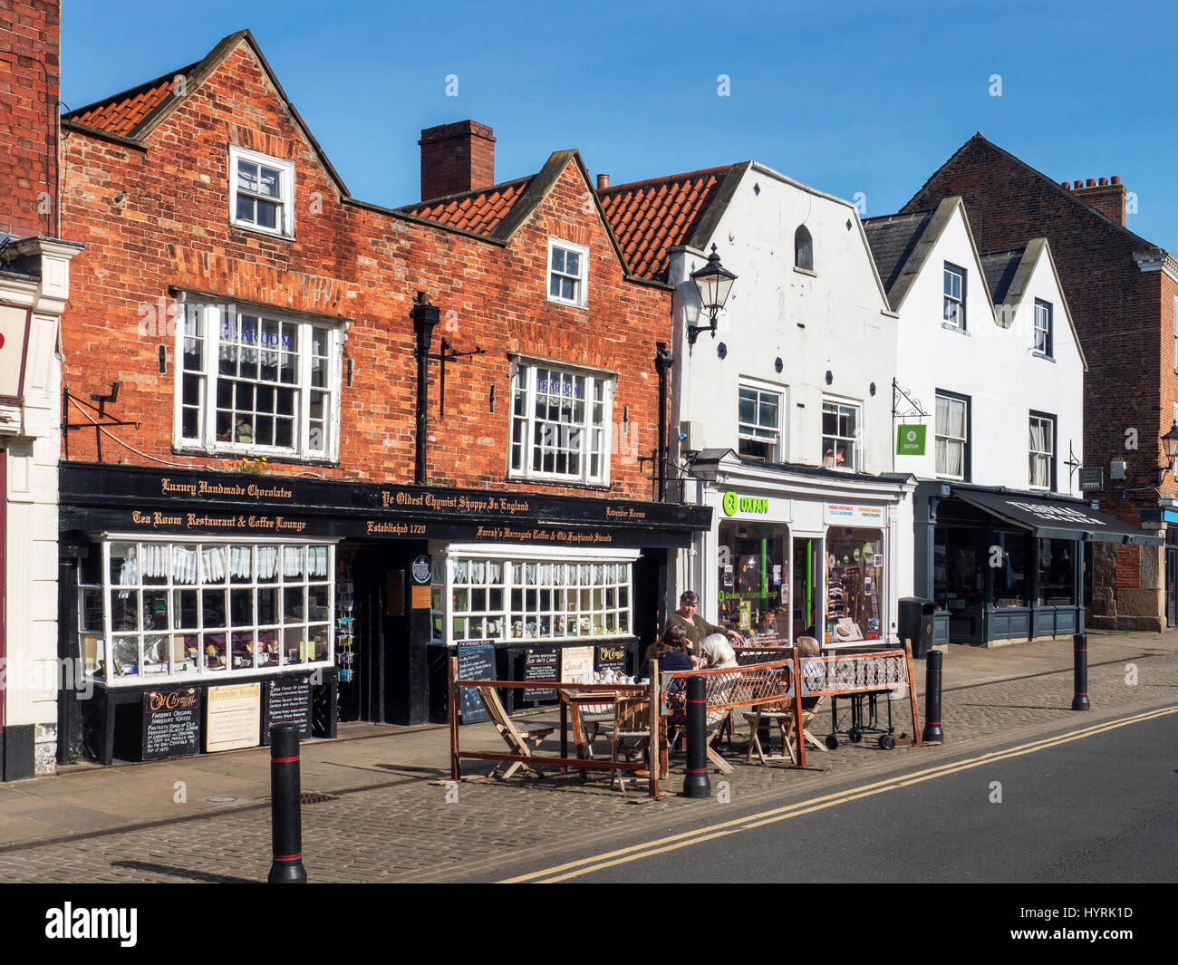 The Oldest Chemist Shop and Levender Tea Rooms in the Market Place at Knaresborough North Yorkshire England - Stock Image