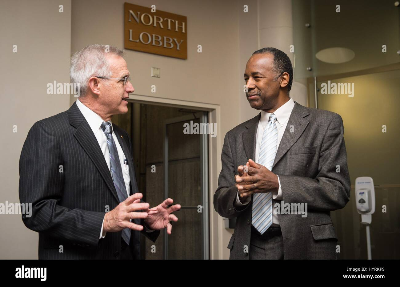 U.S. Housing and Urban Development Secretary Ben Carson greets employees as he tours the HUD Headquarters on his Stock Photo