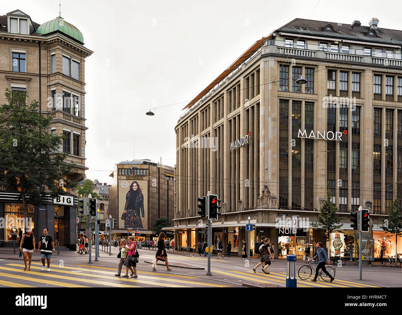 Zurich, Switzerland - September 2, 2016: Cars and pedestrians on Bahnhofstrasse at Zurich city center, Switzerland. - Stock Image