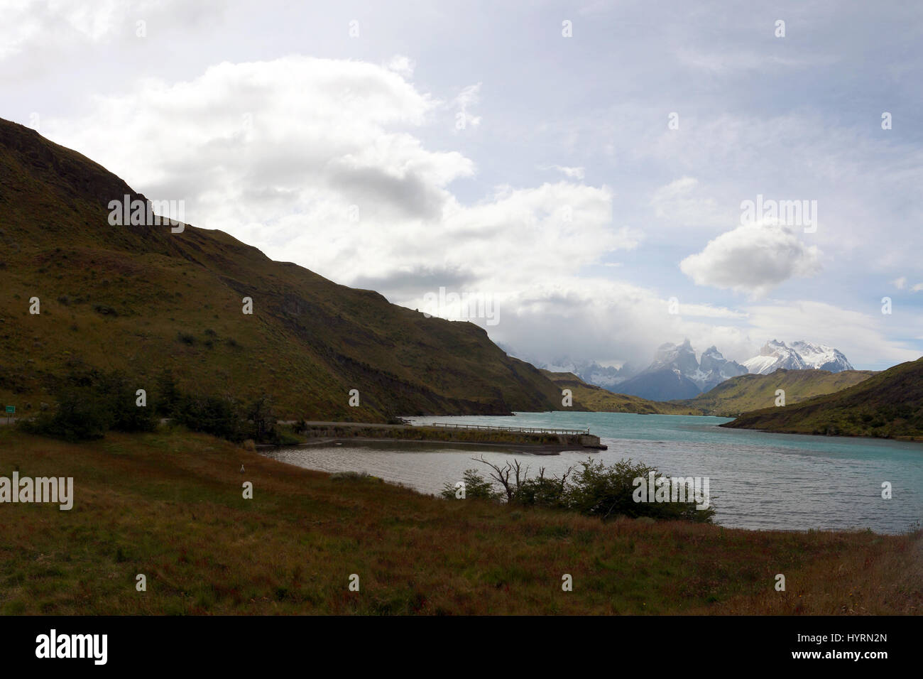 Lake and moutains in a very cloudy day at Patagonia Stock Photo