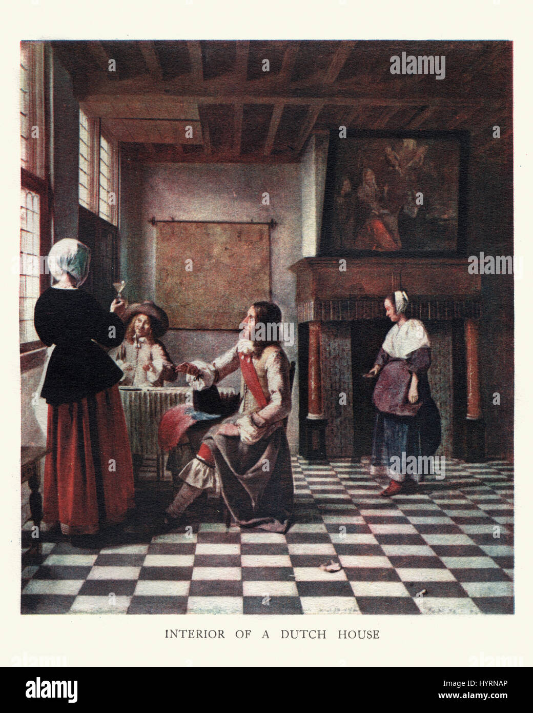 Interior of a Dutch House, from the painting by Pieter De Hooch, a