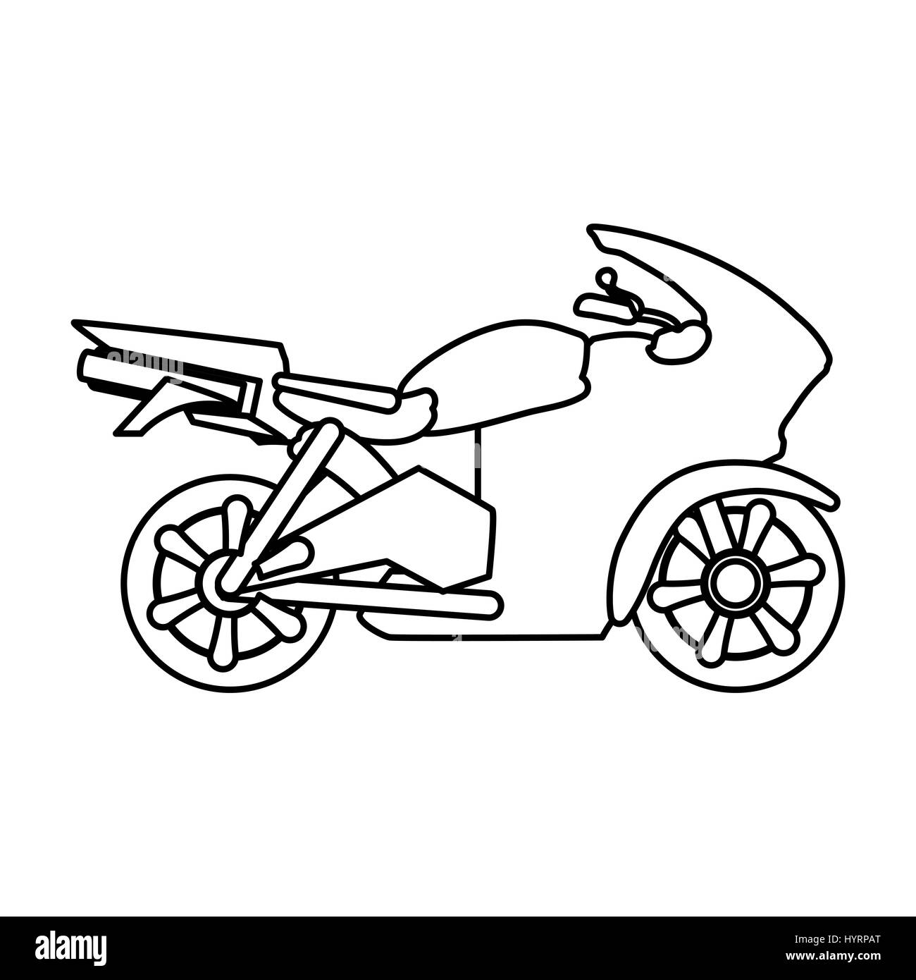 Racing Motorcycle Silhouette Icon Vector Illustration Graphic Design