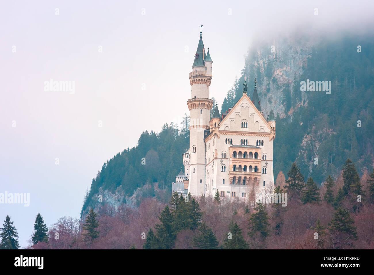Fairytale Neuschwanstein Castle, Bavaria, Germany - Stock Image