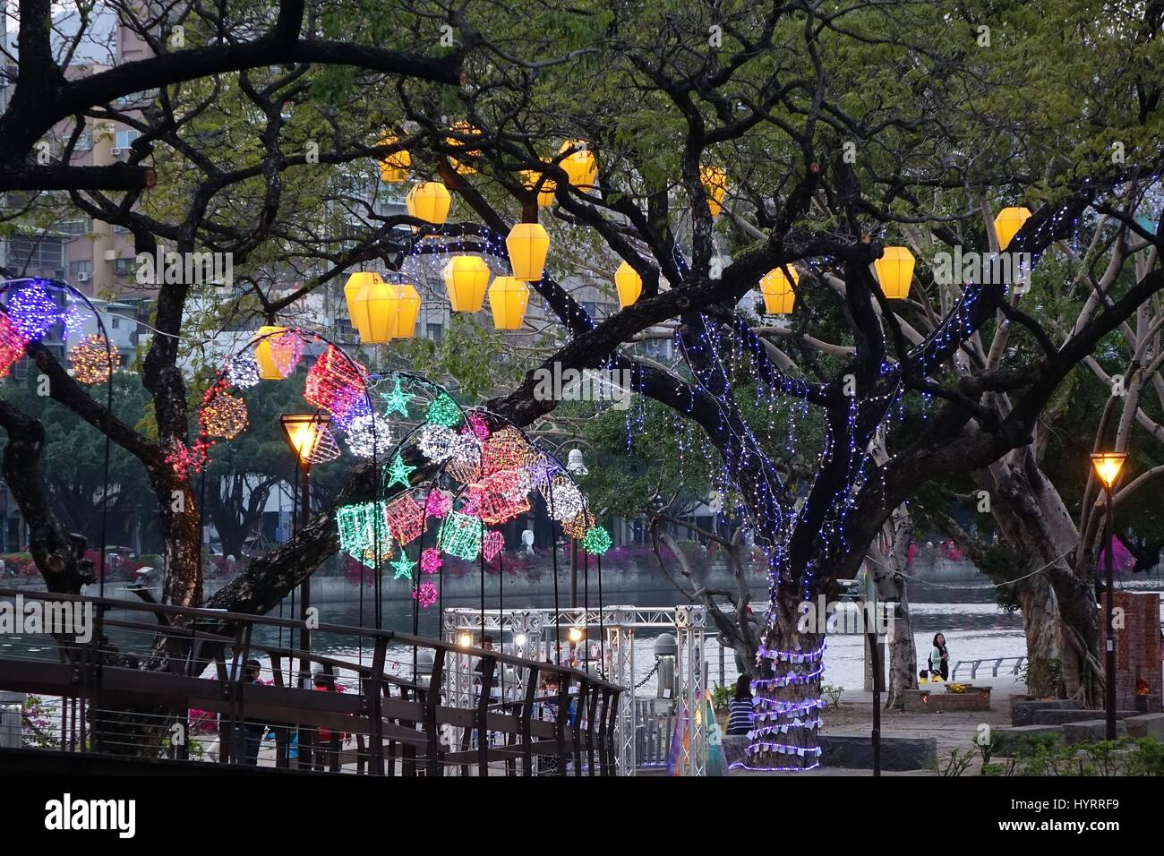 KAOHSIUNG, TAIWAN -- MARCH 6, 2015: Colorful lanterns to celebrate the Chinese year of the goat decorate the trees - Stock Image