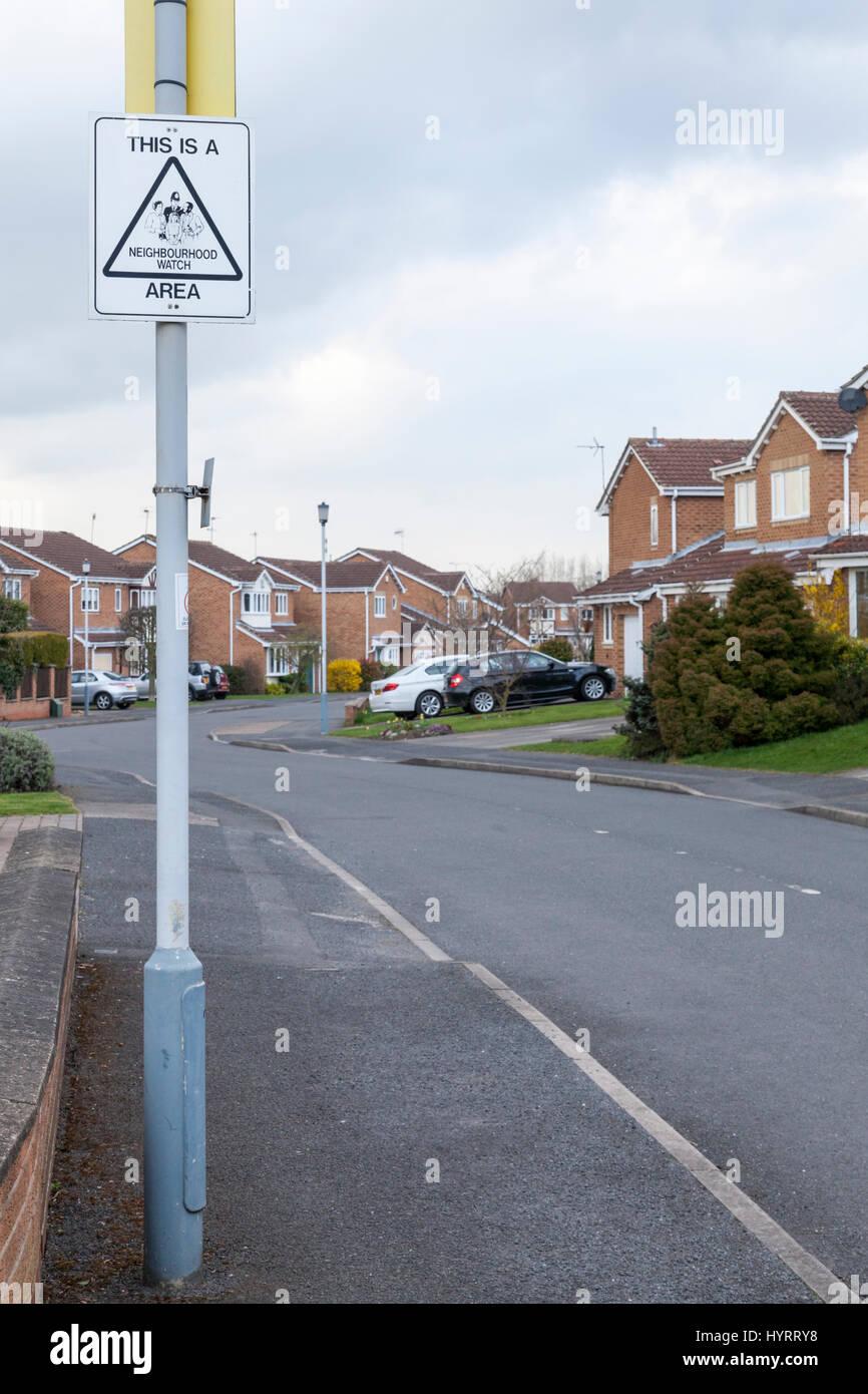 Neighbourhood watch area on a modern housing estate in West Bridgford, Nottinghamshire, England, UK - Stock Image