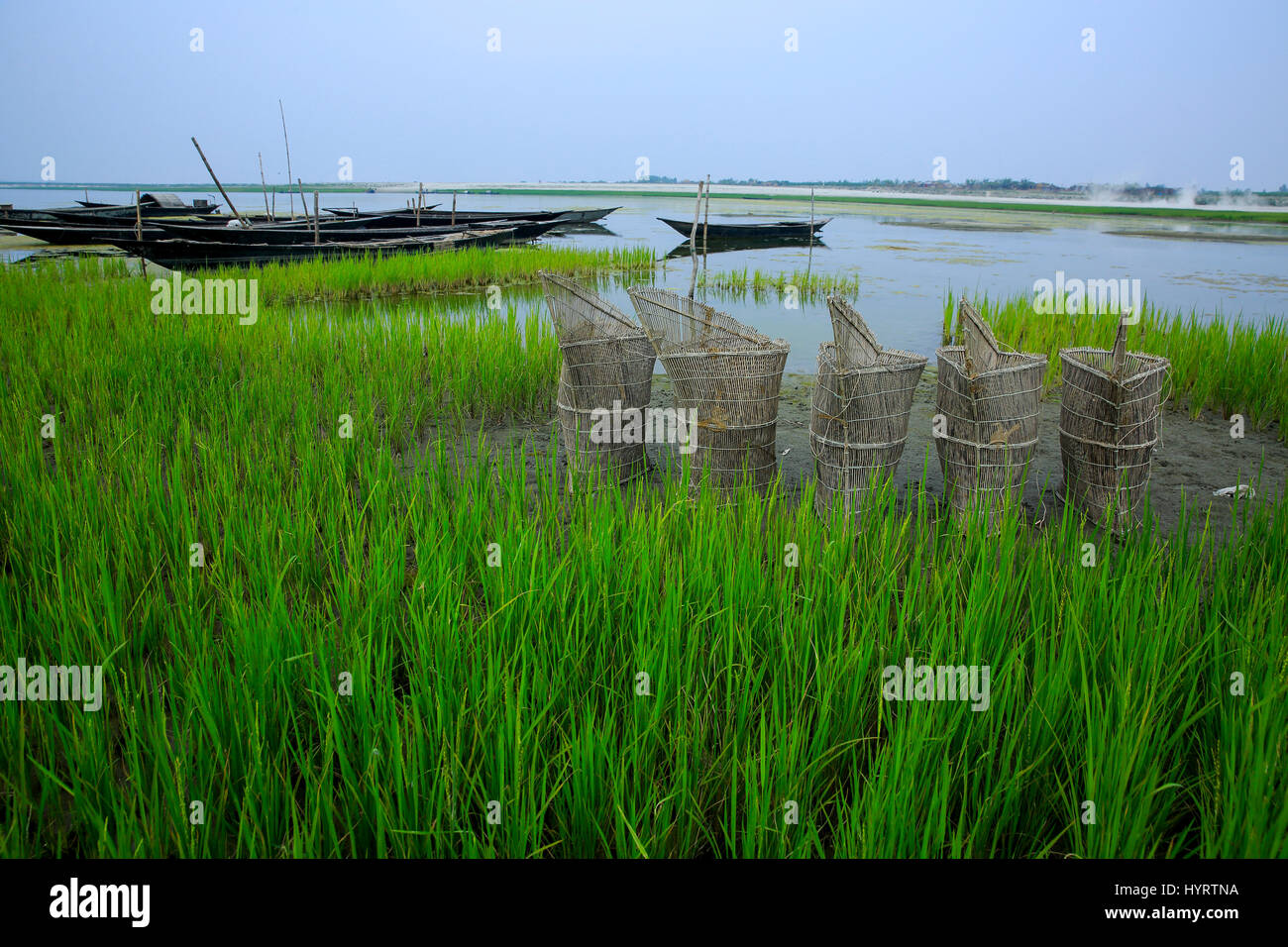 Fishing trap at the bank of Bangali River, Bogra, Bangladesh. - Stock Image