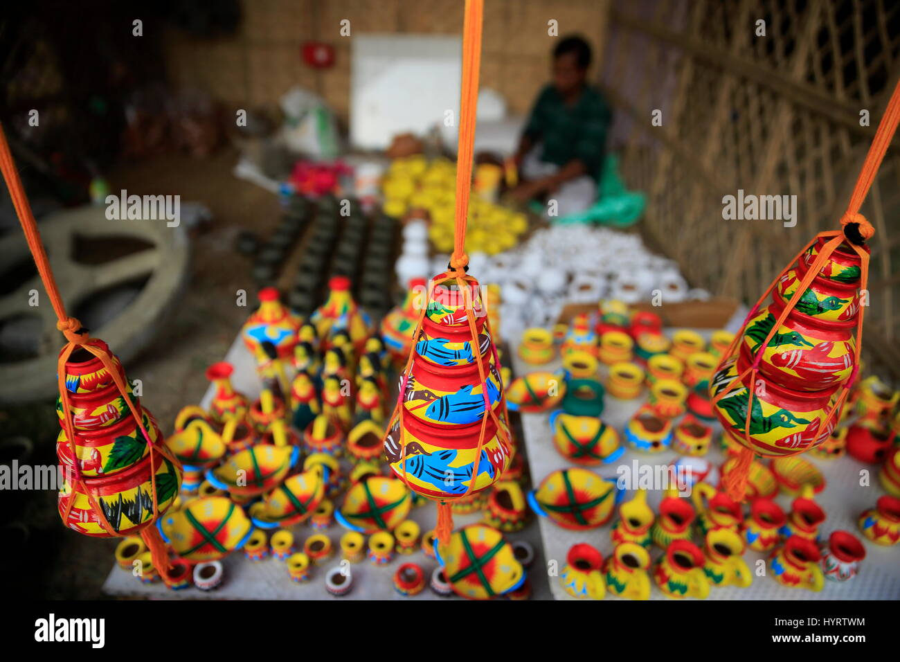 Colourful clay pots locally called Shokher Hari display at 'Lok o karushilpo Mela' at Sonargaon, Narayanganj, - Stock Image