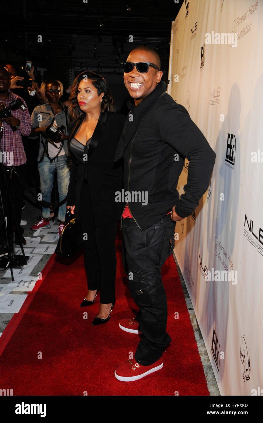Ja Rule and wife Aisha Atkins arrive at Diddy's #FinnaGetLoose VMA after-party at