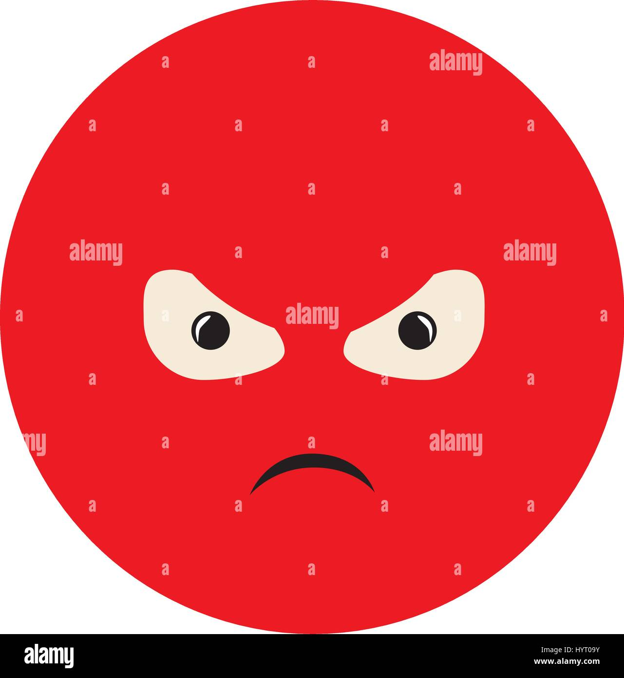 colorful emoticon furious face expression - Stock Image