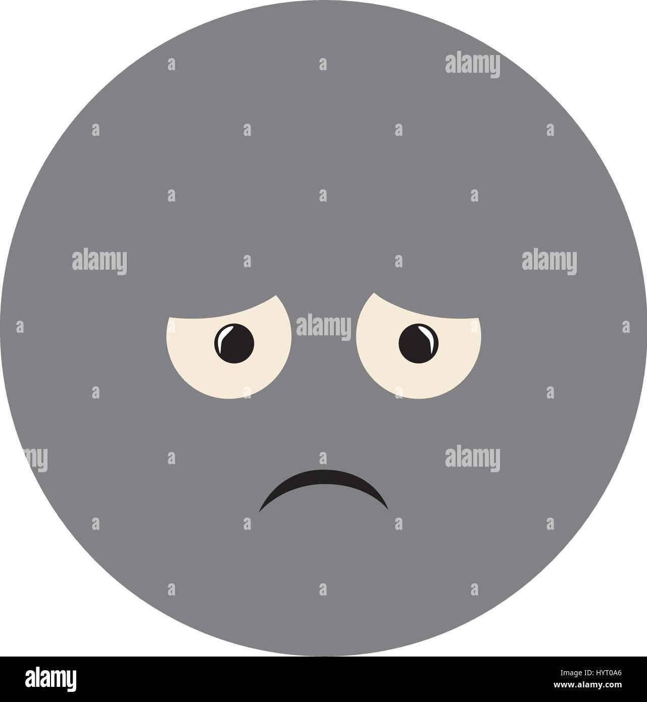 colorful emoticon sad face expression Stock Vector