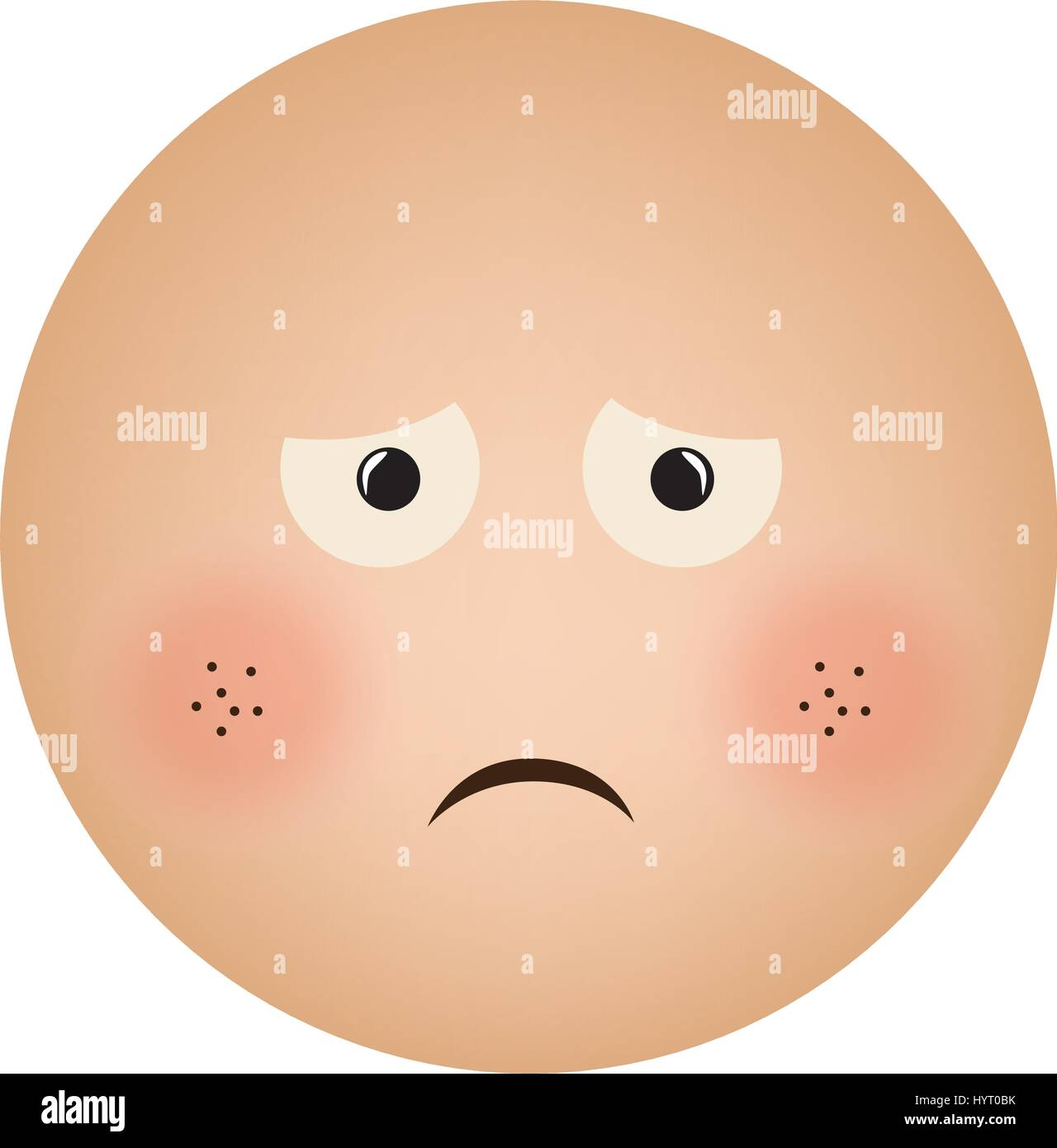 human face emoticon sad expression - Stock Vector