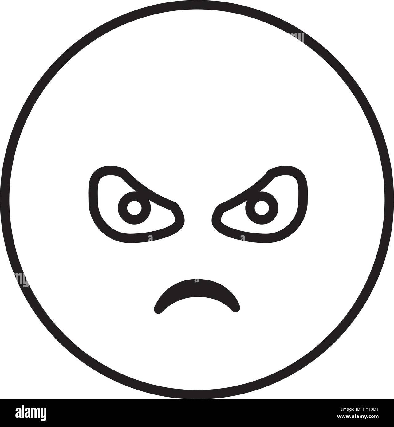 silhouette emoticon face furious expression - Stock Image