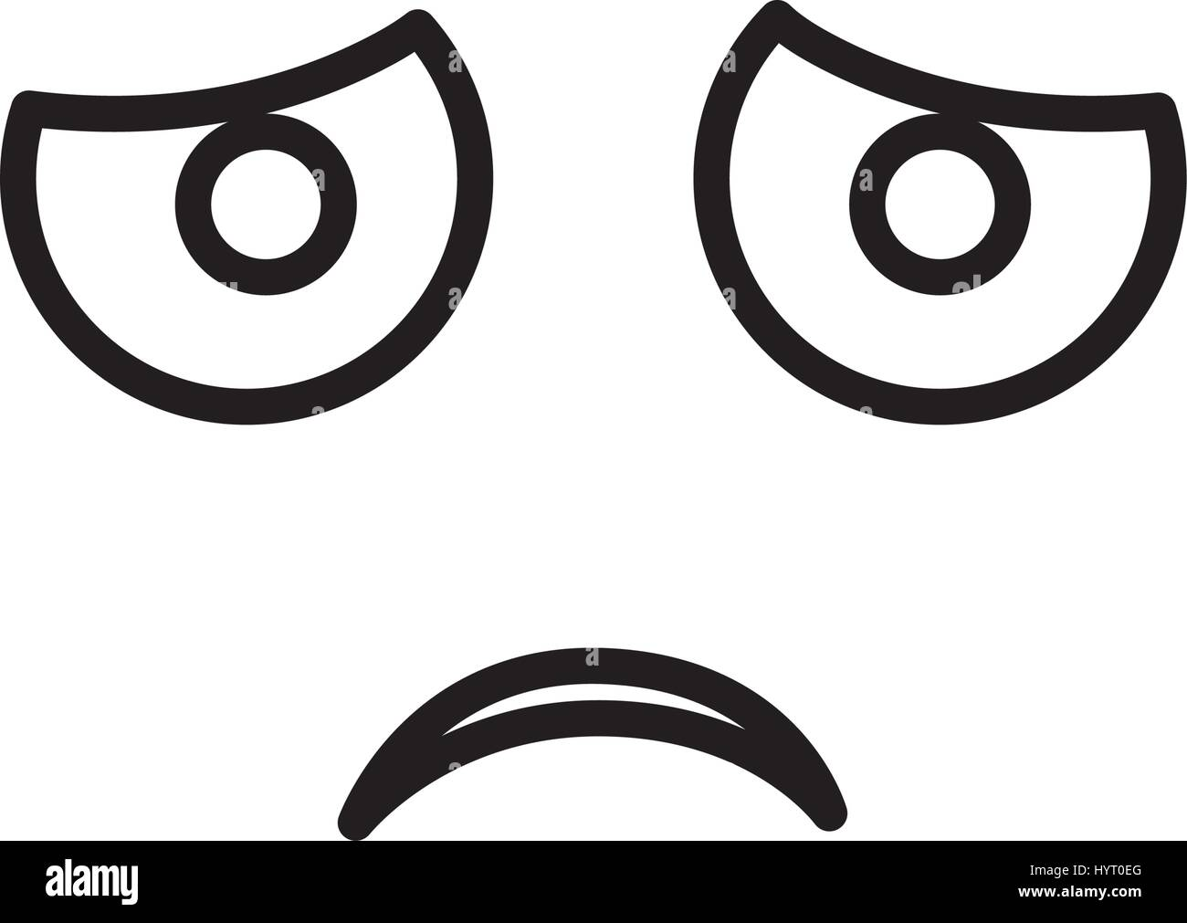 sketch silhouette emoticon dissapointed expression - Stock Vector
