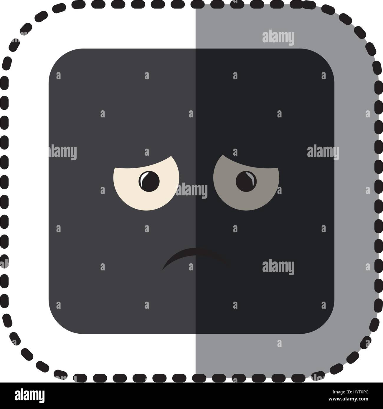 sticker square colorful shape emoticon dissapointed expression - Stock Vector