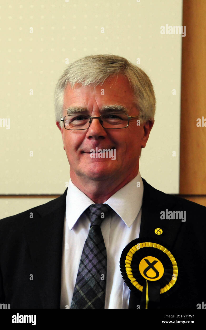 The SNP's Ian Hudghton one of the party's two successful candidates for the Scottish region in the European elections Stock Photo
