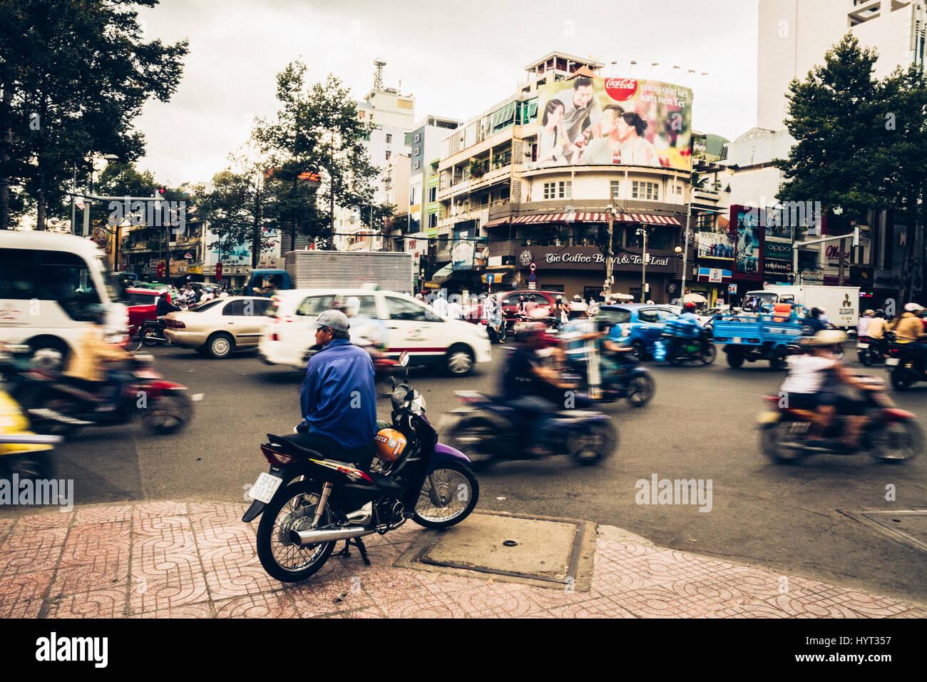 Watching Heavy Traffic In Saigon, Ho Chi Minh City, Vietnam - Stock Image