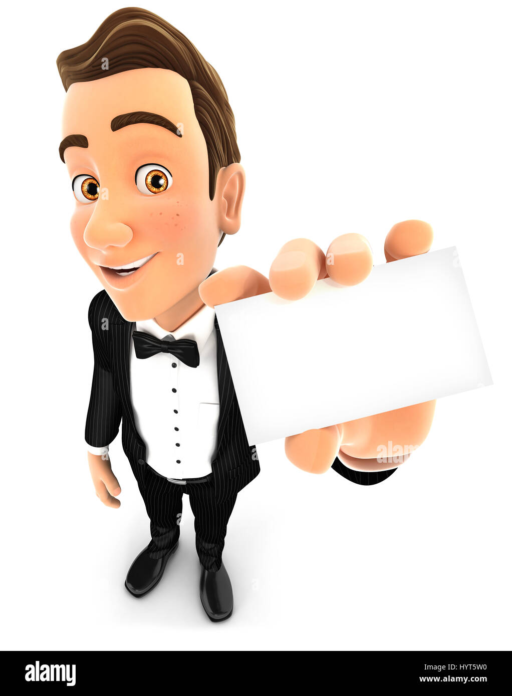 3d waiter holding company card, illustration with isolated white background Stock Photo