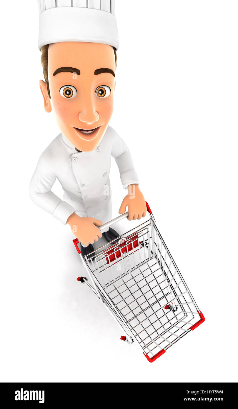 3d head chef empty supermarket trolley, illustration with isolated white background Stock Photo