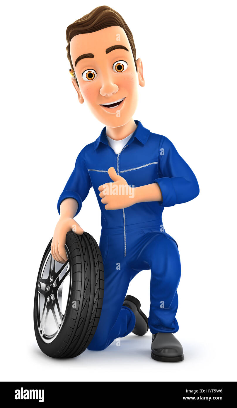 3d mechanic with tire and thumb up, illustration with isolated white background Stock Photo