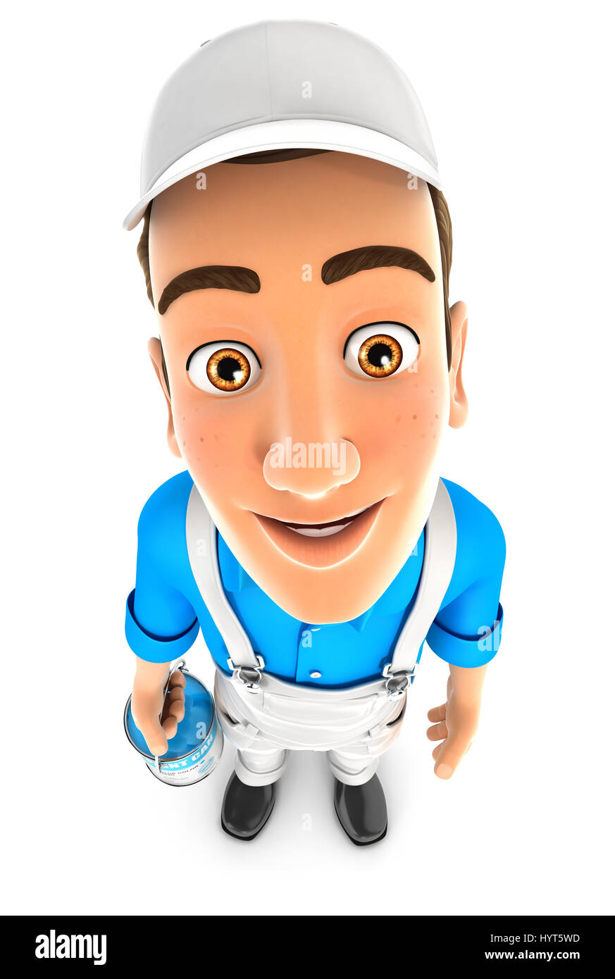 3d painter standing and looking up at camera, illustration with isolated white background Stock Photo