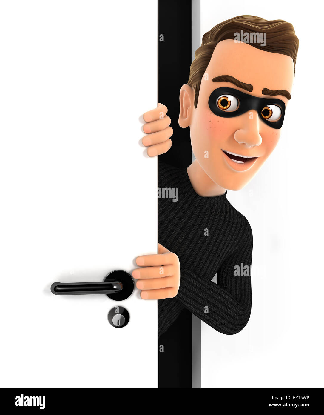 3d thief peeking behind a door, illustration with isolated white background Stock Photo