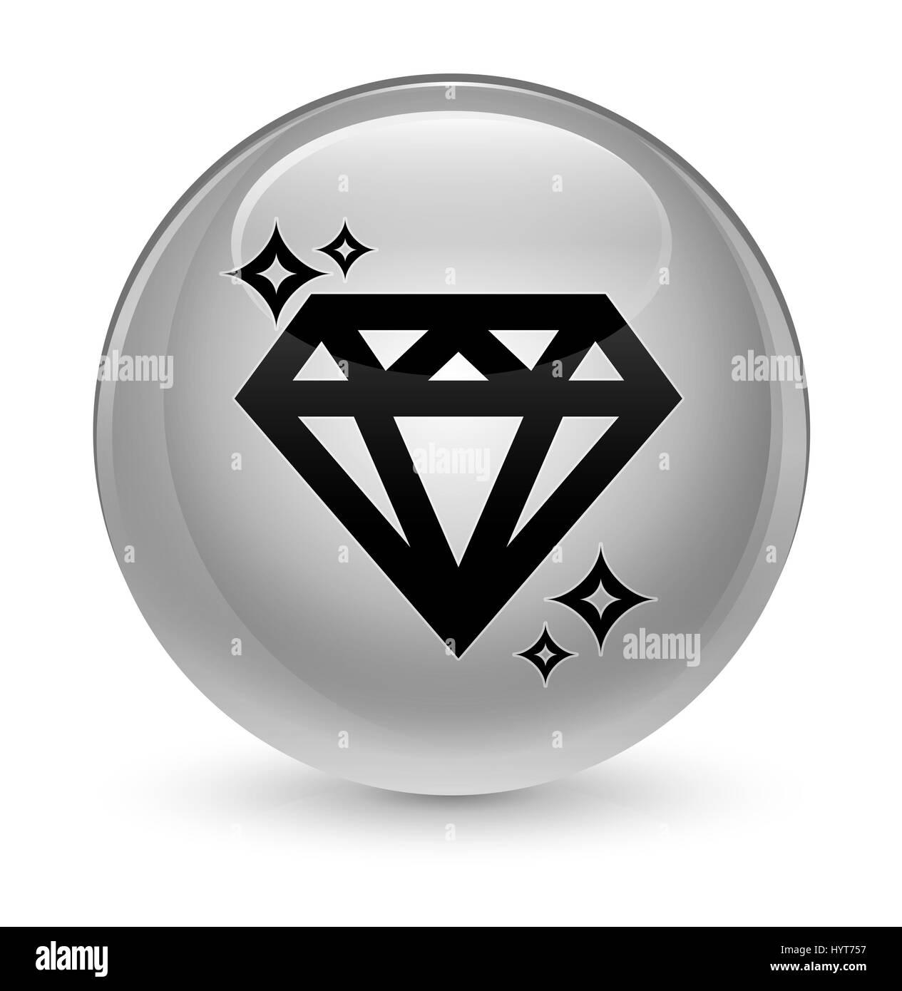 Diamond icon isolated on glassy white round button abstract illustration - Stock Image