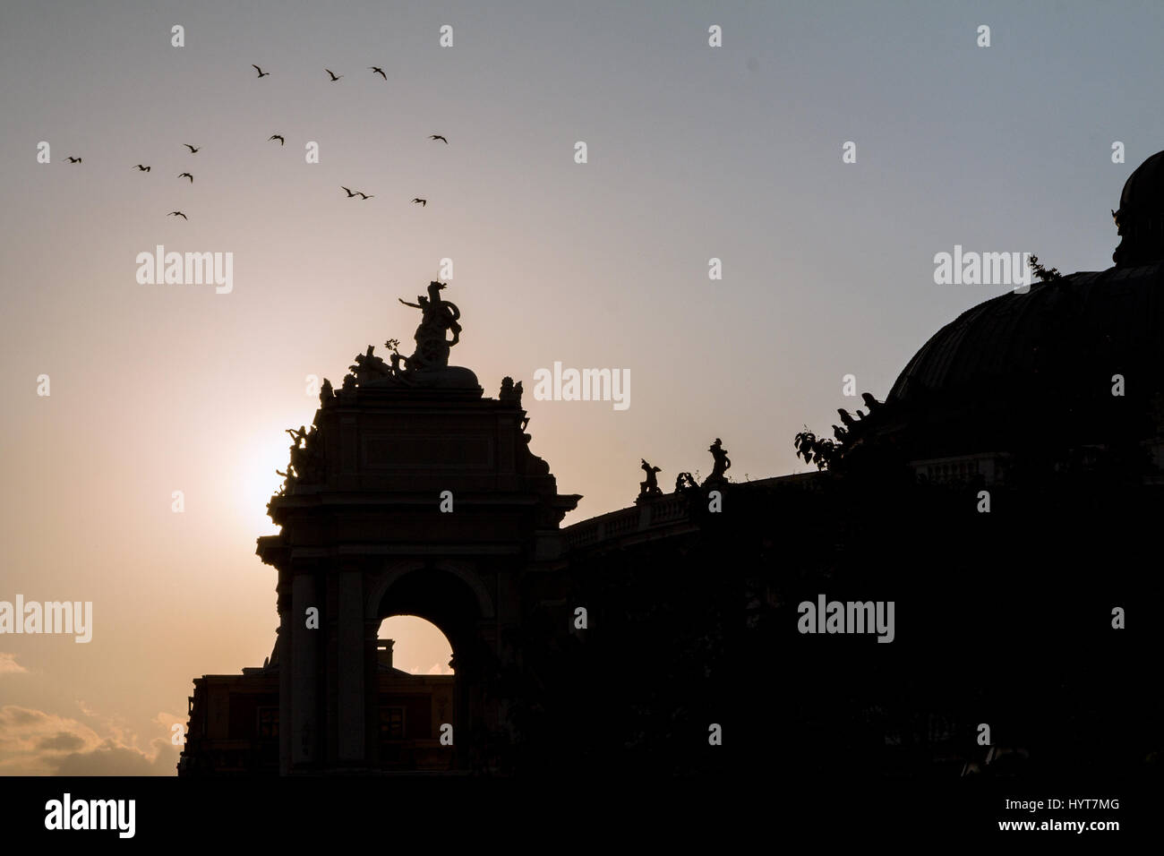 Sunset on the Odessa National Academic Theatre of Opera and Ballet , Ukraine  Silhouette of the National Theatre - Stock Image