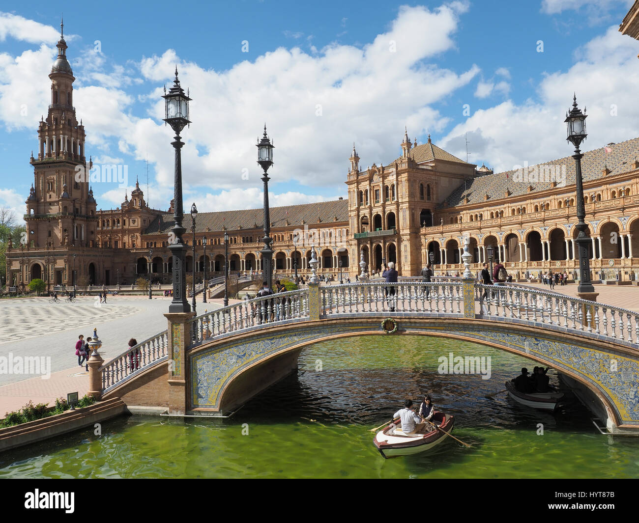 View of a bridge over a canal in the Plaza de Espana in Seville Sapin - Stock Image