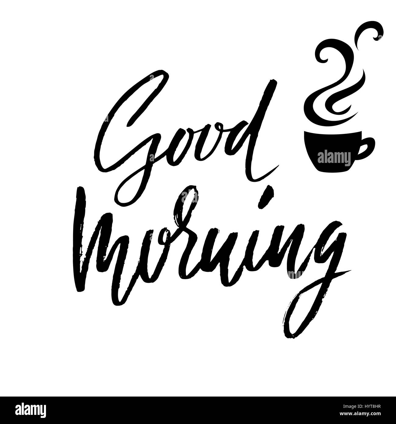 good morning hand drawn lettering text handwritten calligraphy