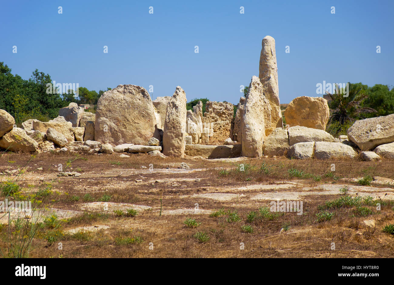 The big orthostats forming entrance to the oldest part of megalithic temple of Hagar Qim, the Northen temple, Malta Stock Photo