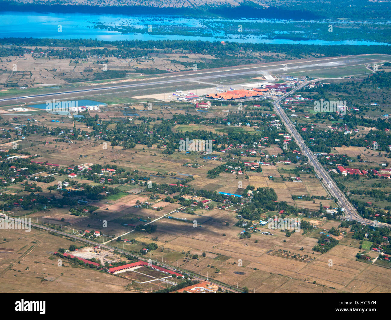Horizontal Aerial View Of Siem Reap International Airport In Cambodia
