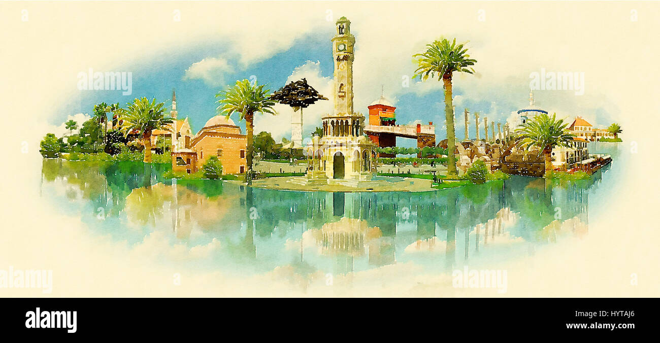 Izmir City Water Color Vector Panoramic Illustration Stock Photo Alamy