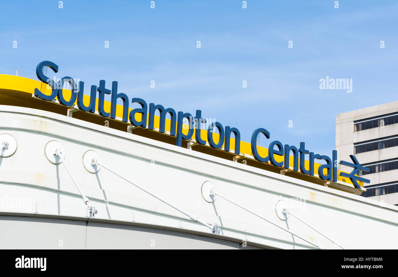 Sign above Southampton Train Station in Southampton, Hampshire, England, UK. Stock Photo