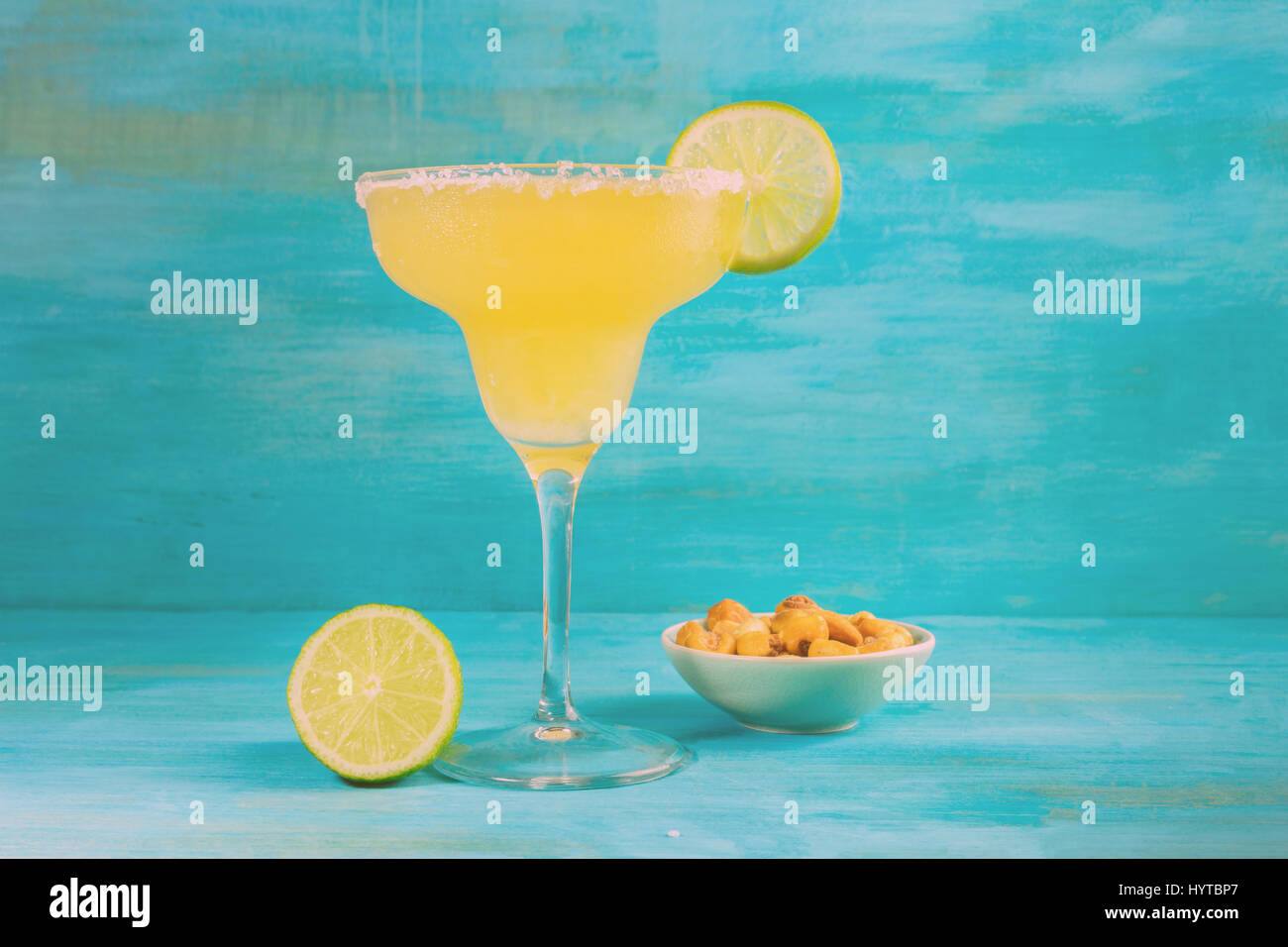 Toned Margarita cocktail photo with copyspace - Stock Image