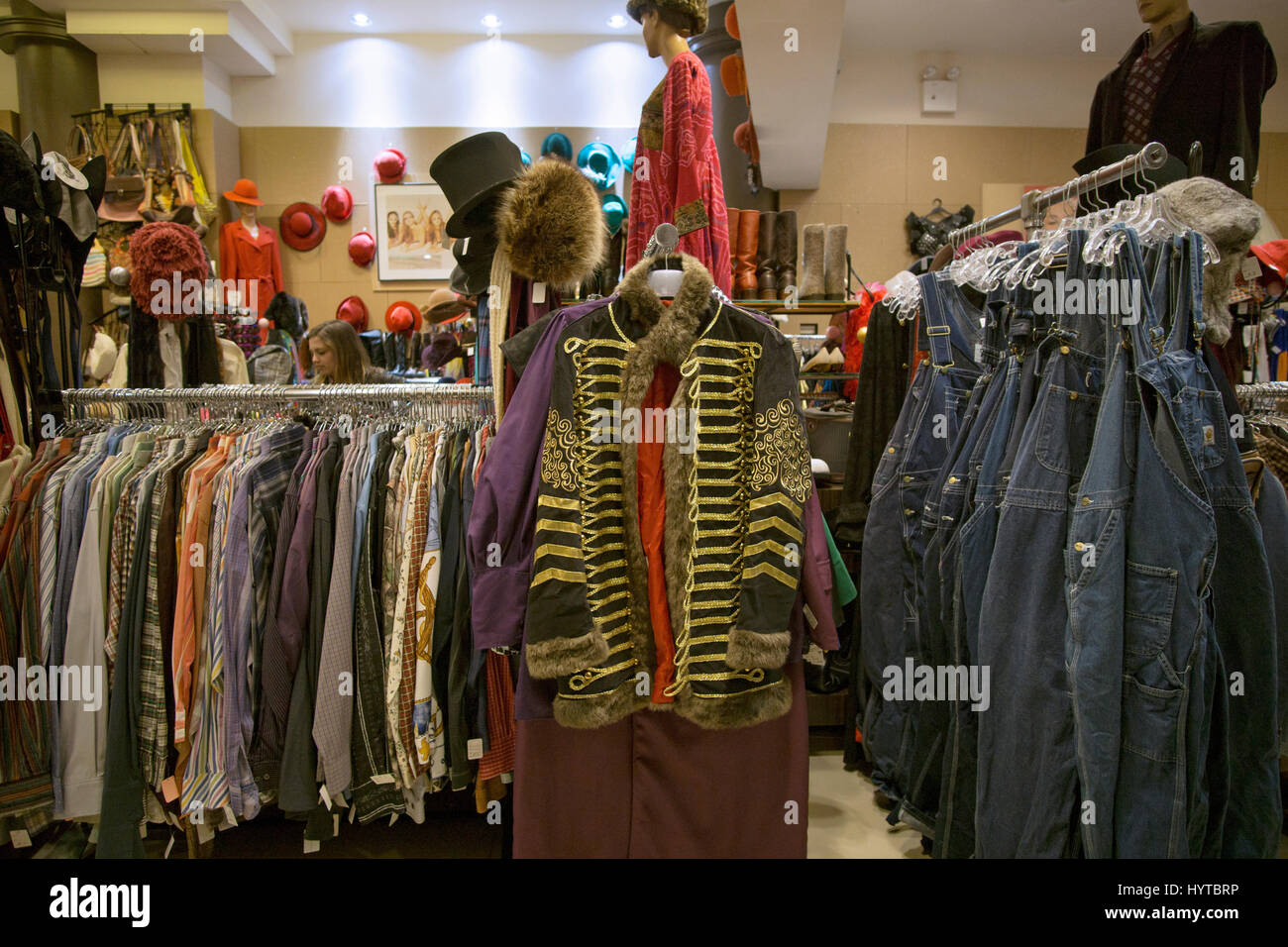 Reminiscence vintage clothing and knickknack store on Fifth Avenue in Greenwich Village, New York City Stock Photo