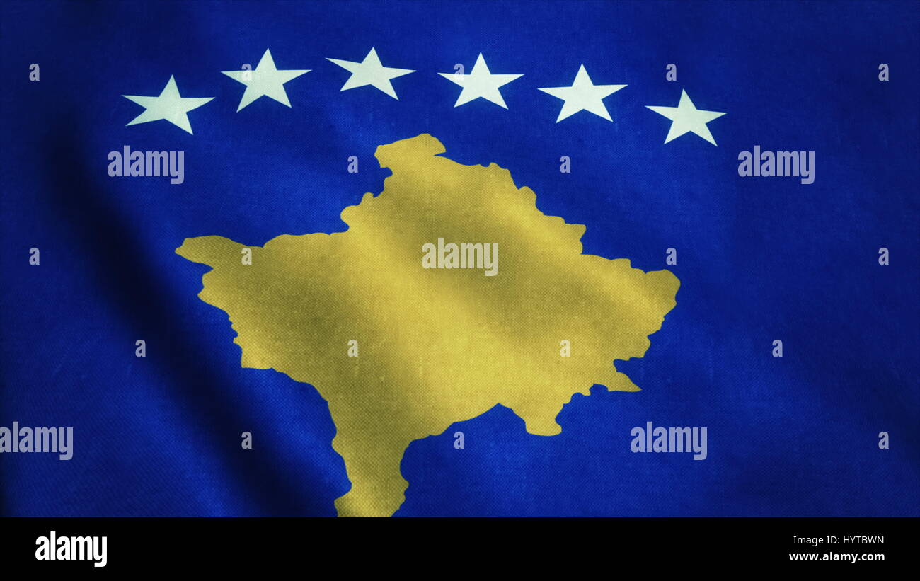 Realistic Ultra-HD flag of the Kosovo waving in the wind. Seamless loop with highly detailed fabric texture. Loop Stock Photo