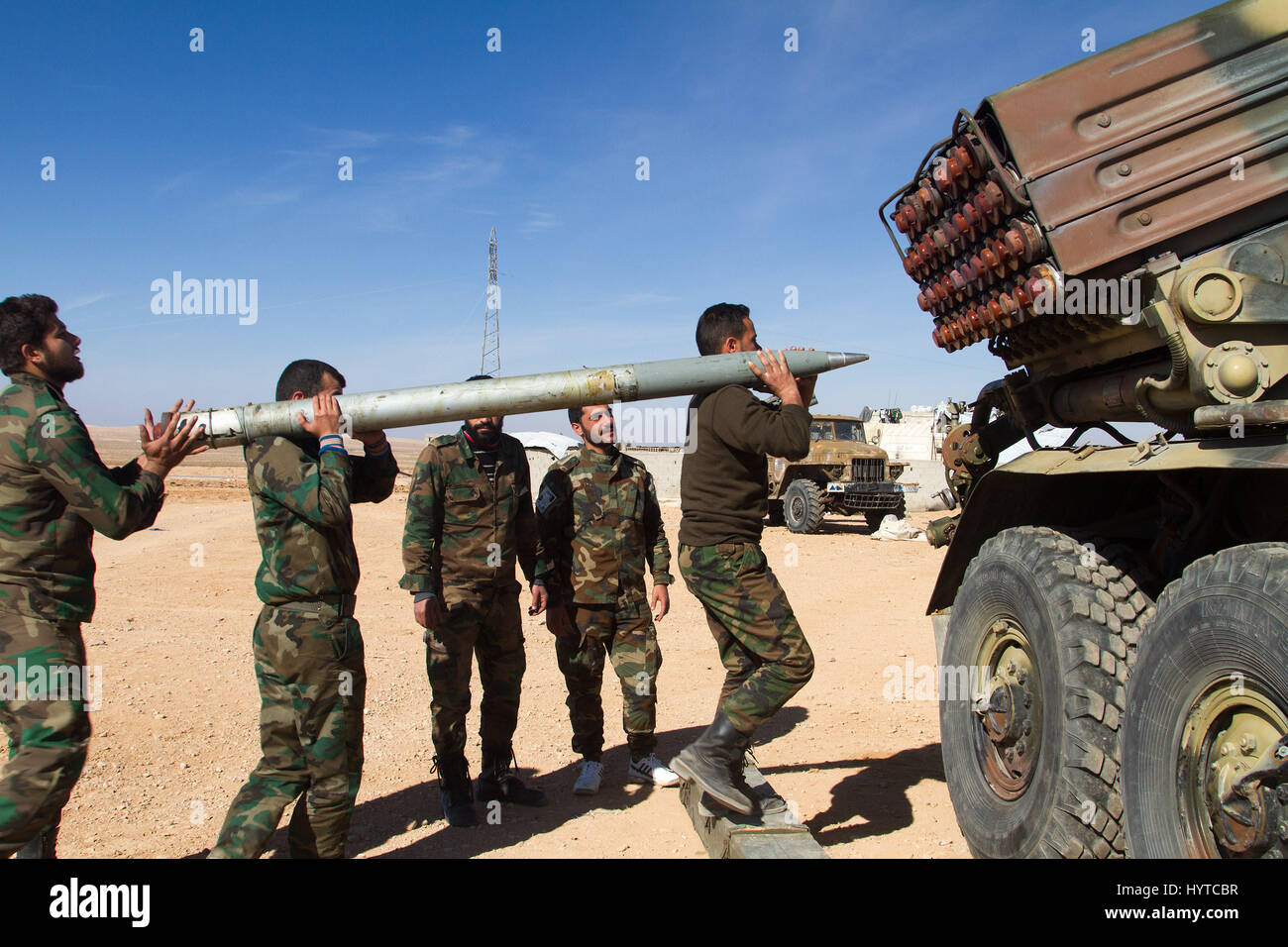 Surian army multiple rocket launcher - Stock Image